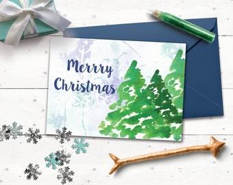 Digital christmas card. Watercolor christmas card. Printable christmas greeting cards.
