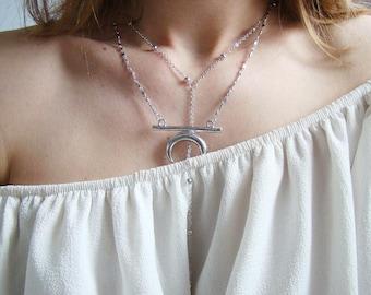 Silver half moon, Crescent necklace silver, half moon, Crescent, silver, gift, PILKATIKO necklace
