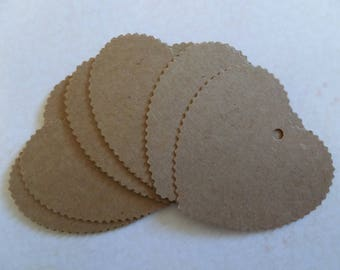 Set of 10 heart tags in kraft paper