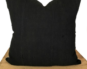 20 Inch Plain Black African Mud Cloth Pillow Cover African Print Mudcloth