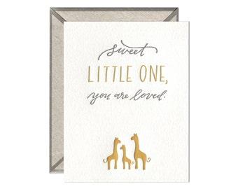 Sweet Little One gender neutral baby letterpress card