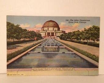 ON SALE Chicago Illinois IL Adler Planetarium Grant Park Old Vintage 1940's Linen Postcard