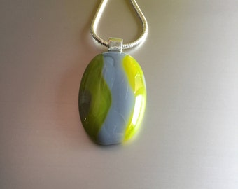 Necklace-Glass Pendant-jewellery-Dutch design-necklace-pendant-schmuck Frau-jewelry-gift for women-gift woman-chain-Italian glass-grey-green