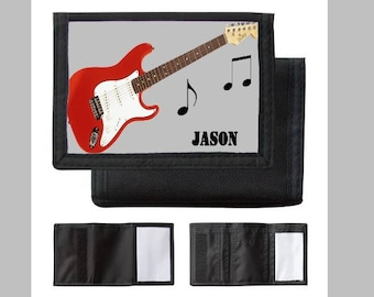 Personalized wallet, first name choice, drawing electric guitar, guitar, drums