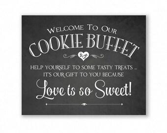 Cookie Buffet Printable Wedding Sign, Chalkboard Style, Cookie Bar, Dessert Sign, #CK12C