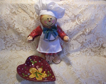 Gingerbread Cookie Baker Figurine and Cookie Dish