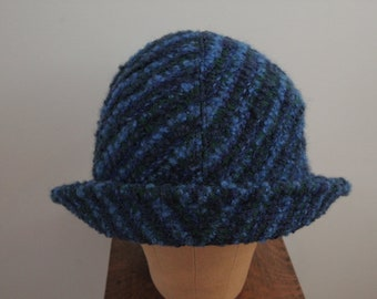 Blue Woven Sun Hat with Turned Up brim
