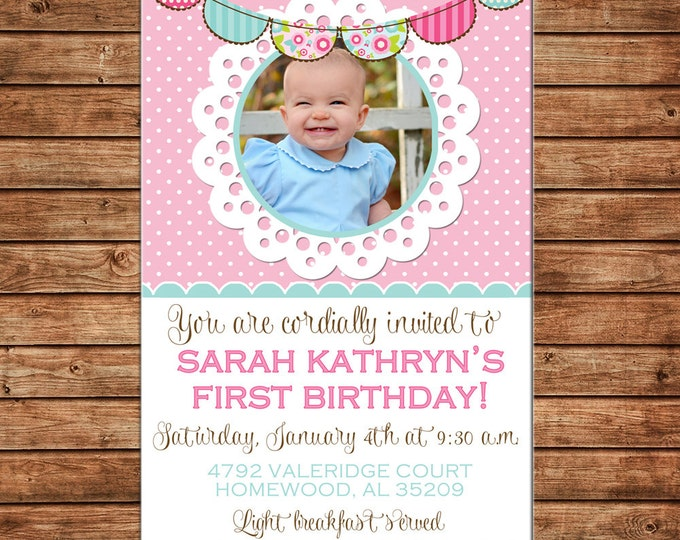 Girl Invitation Shabby Chic Lace Bunting Birthday Party - Can personalize colors /wording - Printable File or Printed Cards