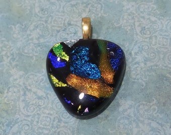 Blue and Orange Pendant, Omega Slide, Dichroic Fused Glass Jewelry - Backroads - -6