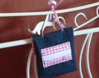 Denim and pink gingham set: dimoulibar, phone and checkbook cover