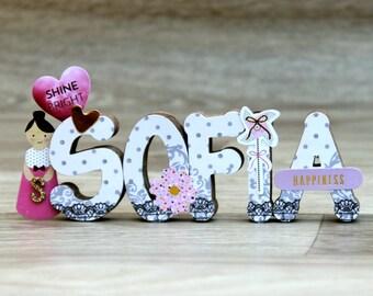 Baby girl nursery Decor: Custom Nursery Letters - Baby shower gift - Wall name sign - Girl party Decor - Christmas gift for baby girl