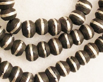 African Ebony Wood Beads Made in Mali (16),  Ethnic Beads, Wood and Metal Beads (C90)