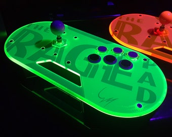 The RAGE Pad - Retro Arcade Game Enhancement Controller. Hand-Crafted DIY fight stick case. Rush (Green) Acrylic top - Choose body & base.