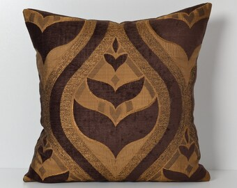 Brown Golden Geometric Couch Pillow Cover - Shimmer pillow - 18x18 throw pillow covers - Decorative Cushion, Accent Pillow, Couch Pillow