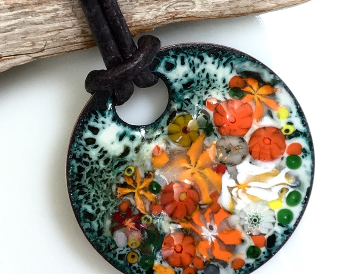Featured listing image: Enameled Copper Art Pendant, Joyful Impressionistic Flower Garden in Oranges and Reds, Kiln Fired Glass Enamel on Handmade Metal Pendant