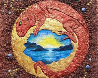 Red Dragon, dragon hatchling, sunrise, copper colors, fantasy landscape, ocean sunrise, dream symbols