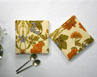 Golden Morris Fabric Coasters - Set of 4, 6 or 8  - Floral Leaf and Vine Cloth Coasters