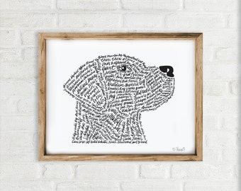 Dog Art Print, Hand Lettered Wall art