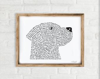 Dog Art Print, Hand Lettered Wall art