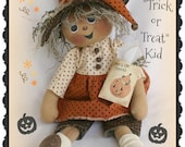 Primitive Halloween Pattern Lil Lizzy the Trick or Treat Kid Witch Doll Pattern