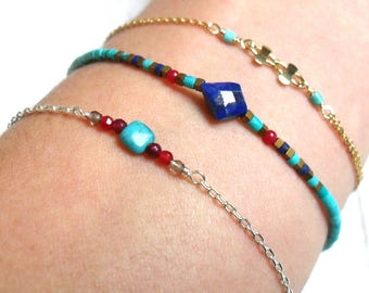 """Bracelet """"Indy"""", Lapis lazuli, Turquoise, coral, 925 sterling silver."""