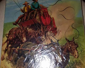2 1950 Wood SIFO Puzzles- Cowboys and Indians