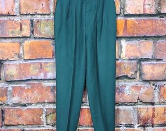 High Waisted Pleated Teal Vintage 1980s Pants