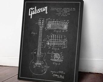 1955 Gibson Guitar Patent Canvas Print, Guitar Print, Guitar Art, Wall Art, Home Decor, Gift Idea, MUIN27C