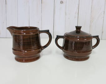 Vintage Sugar Bowl and Creamer, Vintage Brown Sugar Bowl and Creamer, Brown and Black Sugar Bowl and Creamer -V288