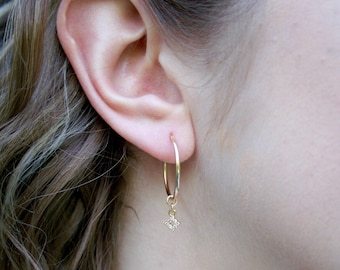 20mm Gold Filled Endless Hoops with Geometric Cubic Zirconia Charm - Charm Hoops - Hypoallergenic