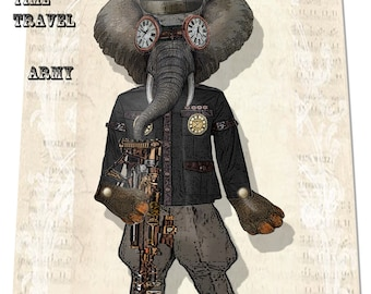 Steampunk  time travel Articulated paper doll Puppet DIY
