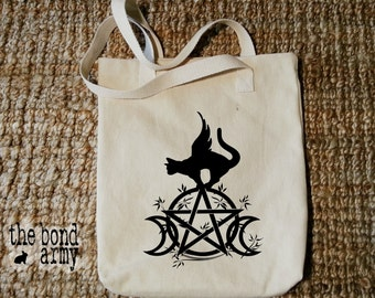 Wicca Triple Moon Winged Cat Pentacle Witchcraft Tote Bag Pagan Wiccan Shopping Grocery Book Bags Witch Black Cats Wiccan Gifts Witch Gifts