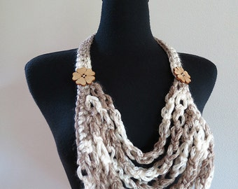 Light Taupe Beige Off White Eggshell Cream Color Wool Acrylic Yarn Crochet Chains Bib Style Statement Necklace with Wooden Flower Buttons
