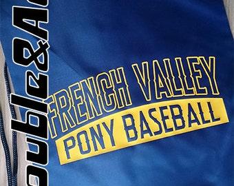 French Valley Pony Baseball Cinch Sack FVBSA Spirit Wear FV Spiritwear Cinch Bag Navy Blue and Gold Yellow