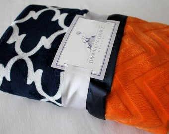 Navy and White Dolce Vita Lattice with Orange Embossed Chevron and Navy Satin Trim Minky Baby Blanket -  Nautical, Baby boy or girl