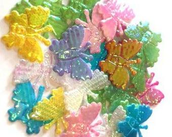 25 x Cute Mini Butterflies Shiny Pearlescent Fabric - Card Making Craft Scrapbooking Embellishments