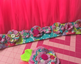 Floral Waisted Tutu and Flower Combo/ Demo Only /See details below