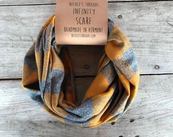 READY TO SHIP Infinity Scarf - Plaid - Flannel - Oversized - Mustard Yellow and Grey - Gray - Buffalo Plaid- Warm - Winter- Cozy - Unisex