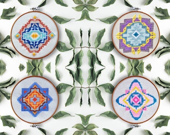 cross stitch embroidery pattern, Geometry, collection 4 in 1, modern hand embroidery