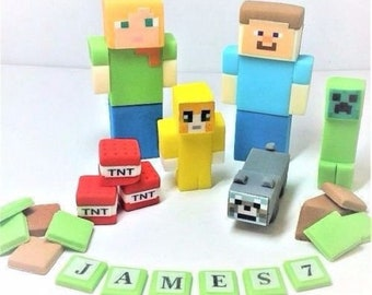 minecraft cake toppers personalised edible decoration birthday UNOFFICIAL icing handmade sugarpaste fondant