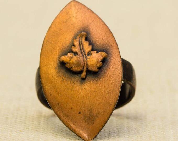 Copper Leaf Vintage Ring Marquise Shape Brushed Metal Adjustable Size 7RI