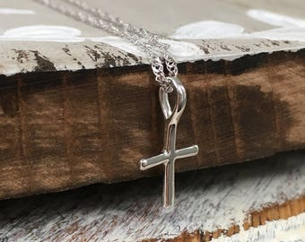 Dainty Cross Necklace in Silver