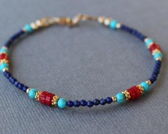 Lapis and coral bracelet, gemstone bracelet, beaded lapis bracelet, women's bracelet, stacking bracelet, boho chic beaded bracelet,