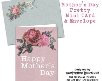 Mothers day Printable Greeting Cards Digital Collage Sheet Vintage shabby chic