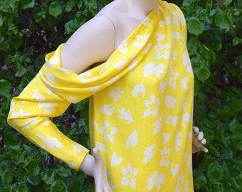 LANVIN 1970 Silk Bare Shoulder Drape Dress