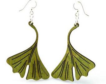 Ginkgo Leaf - Wood Earrings