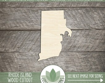 Wood Rhode Island State Laser Cut Shape, DIY Craft Supply, Home Decor Project, Many Size Options, USA Wood State Shapes, Blank Wood Shapes