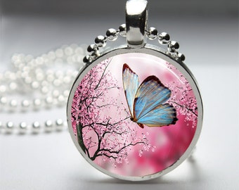 Butterfly Pendant, Cherry Blossom Butterfly Pendant, Glass Dome Pendant Necklace, Nature Pendant