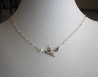 Sparrow carries pearl necklace - Sterling Silver, bird necklace, wedding bridal jewelry, bridesmaids gifts favor, flower girl necklace