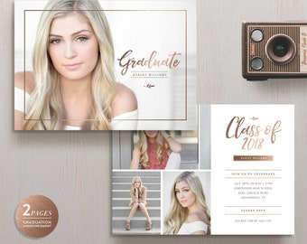 Senior Announcement Card Template, High School Graduation Invitation Card, Senior Announcement Card - INSTANT DOWNLOAD